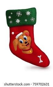 Santa  sock 3d with snow dog