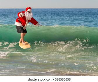 Santa surfing.