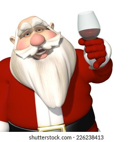 Santa Toasting - Santa raising a glass of wine or maybe it's grape juice in a toast to Christmas and a Happy New Year. Isolated on a white background.