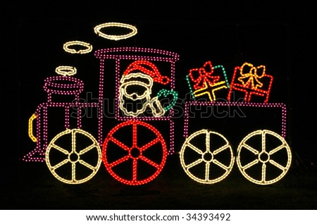 santa in train outdoor holiday decoration with lights - Santa Train Outdoor Christmas Decoration