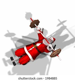 Santa Working Out by Lifting Weights. Getting ready for his flight. Bah Humbug Series