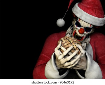 Santa Zombie - Brains.  A scary zombie clown wearing a Santa Claus suit about to eat a brain. Mixing Halloween with Christmas. Isolated on a black background.