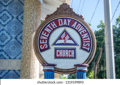 SANTA-FE, BANTAYAN ISLAND, PHILIPPINES - JANUARY 9, 2019: Sign of the Seventh Day Adventist Church in Phillipines