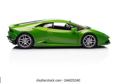 SANT'AGATA BOLOGNESE, BOLOGNA, ITALY - JAN 20 - Toy lamborghini huracan on white background, Tuesday 20 January 2015