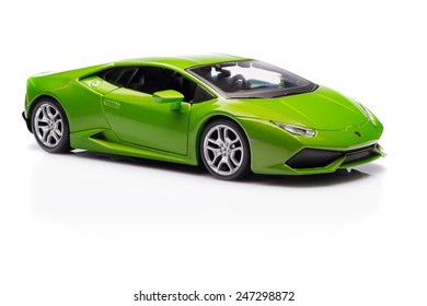 SANTAGATA BOLOGNESE, BOLOGNA, ITALY - JAN 20 - Toy lamborghini huracan on white background, Tuesday 20 January 2015