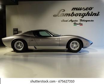 SANT'AGATA BOLOGNESE, ITALY - November, 2016. Lamborghini Museum exhibit vintage supercar Miura P400SV