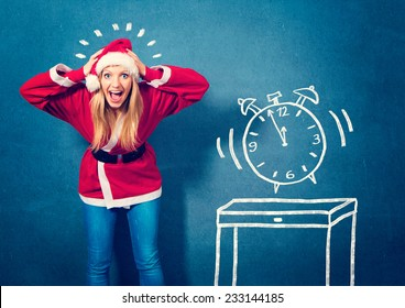 Santagirl with clock five to twelfe - Santagirl
