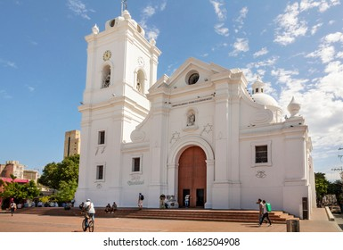 Santa-Marta-Colombia-25. February 2020: Beautiful church in Santa Marta, popular Caribbean destination in Northern Colombia