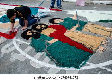 Santana de Parnaiba, Sao Paulo, Brazil. June 2014. Overview of street rugs in celebration of the day of Corpus Christi. Tradition popular in Brazil and Portugal