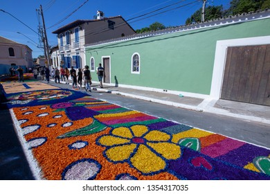 SANTANA DE PARNAIBA, SP, BRAZIL - MAY 31, 2018 - Overview of street rugs in celebration of the day of Corpus Christi, made of organic waste.Tradition popular in Brazil and Portugal