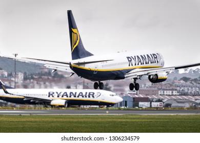 "Santander, Cantabria/Spain-06/28/2018: Airplane in Santander Airport ""Seve Ballesteros"""