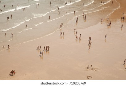 SANTANDER, SPAIN - AUGUST 14: Locals and tourists enjoy hot August weather on Beach Playa de Matalenas , August 14, 2017 in Santander, Cantabria, Spain