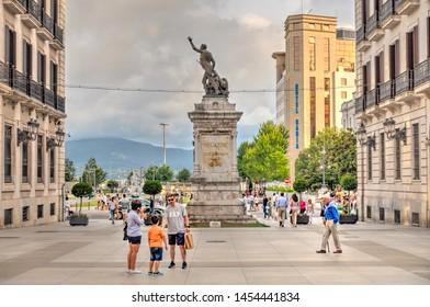 Santander, Spain - July 2019 : City center in summertime, HDR image
