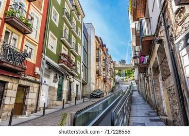 SANTANDER, SPAIN - JUNE 19, 2016: Moving walkway on the street in Santander, Spain.