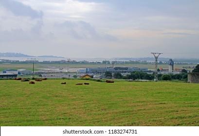 Santander, Spain - May 26, 2018: view of international airport of Santander in Spain