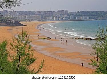 Santander, Spain - May 26, 2018: people rests at coast of spanish city Santander