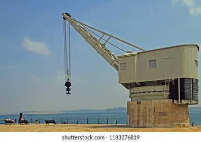 Santander, Spain - May 26, 2018: View of the old crane called Grua de Piedra on the seafront in Santander