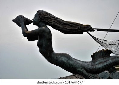 Santander, Spain. October 6, 2012 Replica of the figurehead of the ship of the navigator Juan de la Cosa