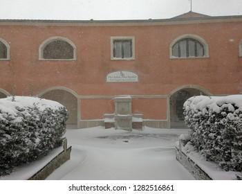Sant'Angelo dei Lombardi, Campania, Italy - January 4, 2019: Headquarters of the Pro Loco Alta Irpinia during a snowfall