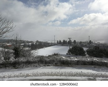 Sant'Angelo dei Lombardi, Campania, Italy - January 4, 2019: Municipal sports field during a snowfall