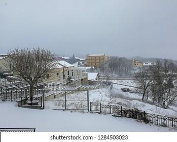 Sant'Angelo dei Lombardi, Campania, Italy - January 4, 2019: Panorama on Irpinia during a snowfall