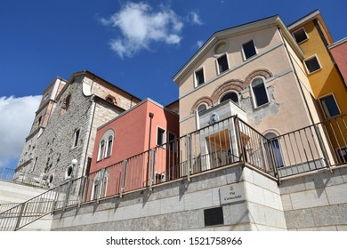 Sant'Angelo dei Lombardi, Italy, 09/28/2019. The houses and buildings of a village rebuilt after an earthquake in 1980. The architecture is in a typically Mediterranean style.