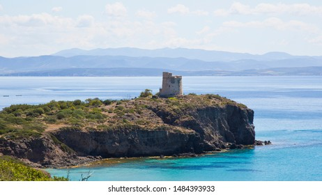SANT'ANTIOCO (SU) MARCH 30, 2019 THE BEAUTIFUL TORRE DI TURRI (TORRE CANAI) IN THE ISLAND OF SANT'ANTIOCO IN THE SOUTH OF SARDINIA IN THE PROVINCE OF CARBONIA IGLESIAS