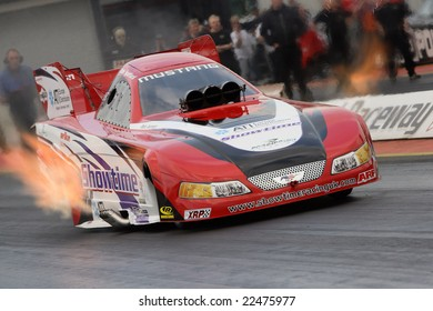 """SANTAPOD ENGLAND – SEPTEMBER 28, 2008: John Spuffard competing in his Top Fuel Funny Car """"Showtime"""" at the UK National Finals event 28th September 2008 at Santapod Raceway Raceway, England"""