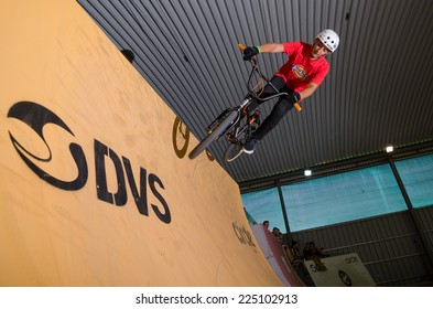 SANTAREM, PORTUGAL - OCTOBER 18, 2014: Daniel Santos during the 3rd Stage of the DVS BMX Series 2014 by Fuel TV.