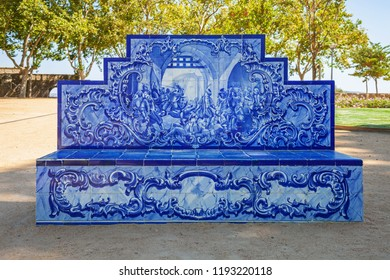 Santarem, Portugal. Park or garden bench covered in the typical and traditional Portuguese Azulejos or Blue tiles in Jardim das Portas do Sol garden