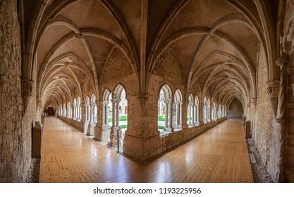 Santarem, Portugal - September 11, 2017: Cloister of Convento de Sao Francisco Convent. 13th century Mendicant Gothic Architecture. Franciscan Religious Order.