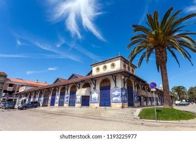 Santarem, Portugal - September 11, 2017: Mercado Municipal de Santarem or Farmers Market of Santarem decorated with the traditional Portuguese blue tiles called Azulejos