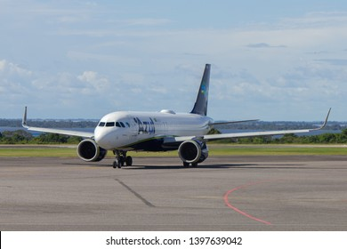 Santarem/Para/Brazil - May 11, 2019: Airbus A320 Neo (PR-YRK) from Azul Brazilian Airlines taxiing through the runways of Santarem Airport (SBSN) preparing for takeoff.