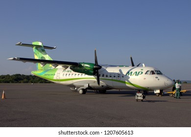 Santarem/Para/Brazil - Sep 30, 2018: Aircraft ATR 42-320 of the brazilian company MAP Air Lines, which operates regional flights in the Amazon, at Santarem Airport (SBSN).
