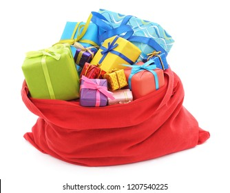 Santa's bag of gifts isolated on a white background.