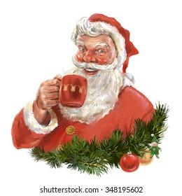 Santa's beverage. Santa Clause drinking a mug of some beverage. Greeting card style illustration.