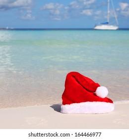 Santa's Hat on Tropical Beach