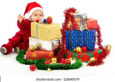 Santa's helper baby with Christmas gifts with white background