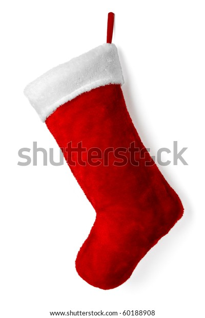 Santa's red stocking. Concept of christmas or holiday.