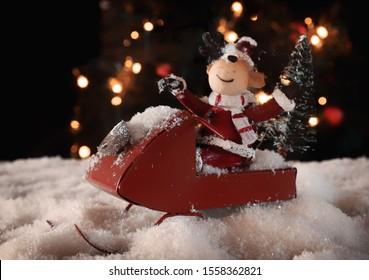 Santa's rendeer in a sled