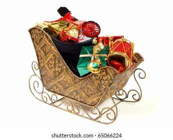 Santa's sleigh and bag filled with colorful gifts and toys
