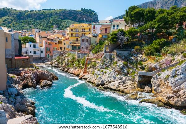 Sant'Elia, in the city of Santa Flavia, Sicily. Ancient maritime village near Palermo