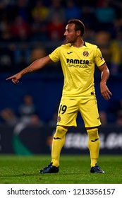 Santi Cazorla of Villarreal gives instructions during the Group G match of the UEFA Europa League between Villarreal CF and Rapid Wien at La Ceramica Stadium Villarreal, Spain on October 25, 2018.