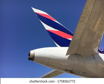 SANTIAGO (CHI). April 7, 2018: first Airbus A320neo from LATAM Airlines. Vertical stabilizer/rudder close spot. Visible logo. Clear skies.