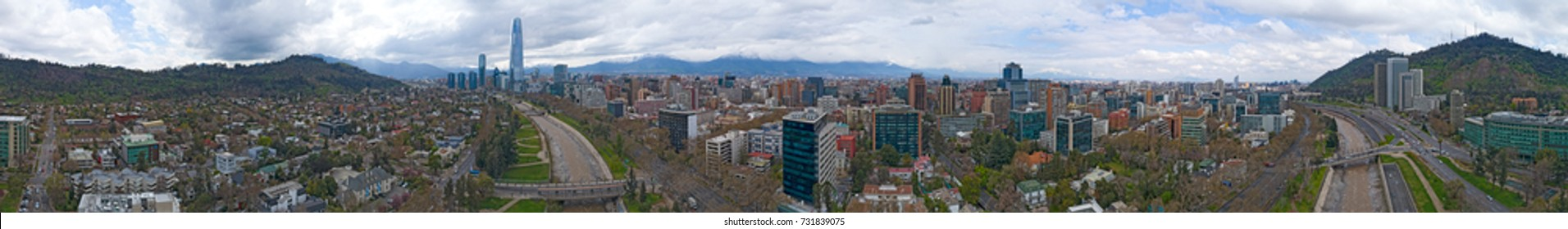 Santiago, Chile 360 Aerial Panorama View of City Skyline, River, and Mountains