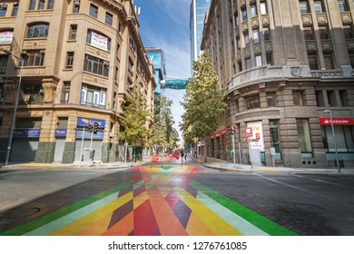 Santiago, Chile - Apr 15, 2018: Paseo Bandera, colorful pedestrian street in downtown Santiago - Santiago, Chile