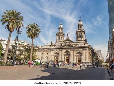 Santiago, Chile - Apr 15, 2018: Santiago Metropolitan Cathedral at Plaza de Armas Square -  Santiago, Chile