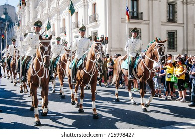 Santiago, Chile. April 07, 2013. Carabineros mounted during parade in the city.