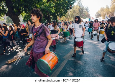 Santiago, Chile - April 19, 2018: Chileans marched through Santiago's streets, demanding an end to the Profit in the Education