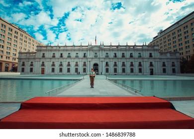 Santiago, Chile - APRIL 9, 2014: Palácio de la Moneda, presidential residence of Chile